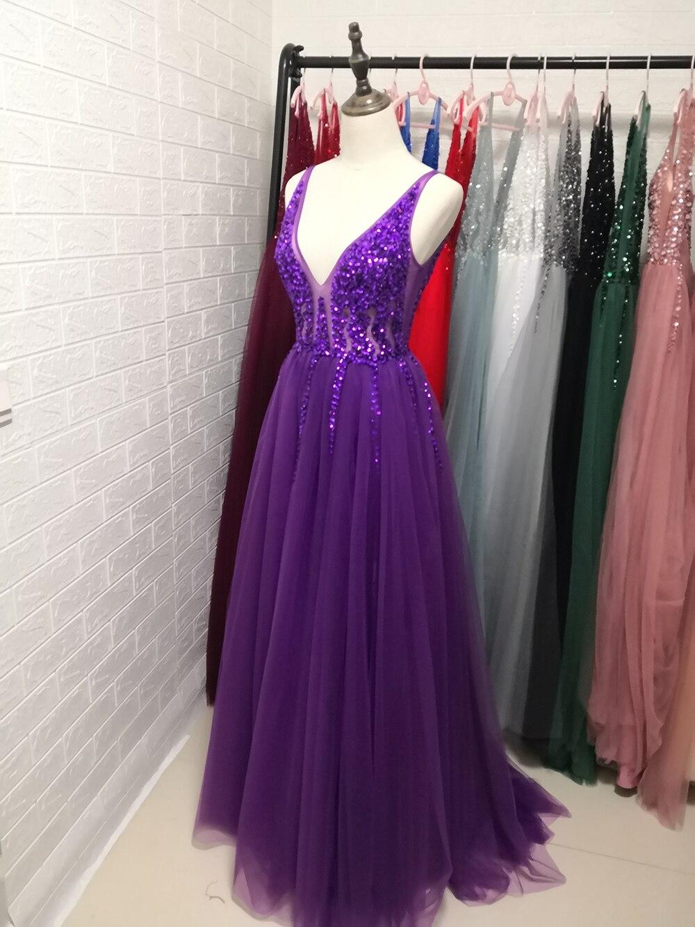 Сексуальное длинное вечернее платье с глубоким v-образным вырезом и разрезом сбоку, Новое поступление года, блестящее платье с высоким разрезом и открытой спиной, Abendkleider Lang - Цвет: Фиолетовый