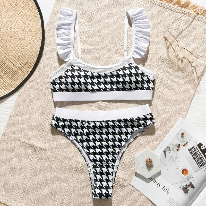 In-x Sexy plaid maillot de bain avec volants taille haute bikini ensemble maille transparent maillots de bain femmes baigneur Push up maillot de bain maillot de bain