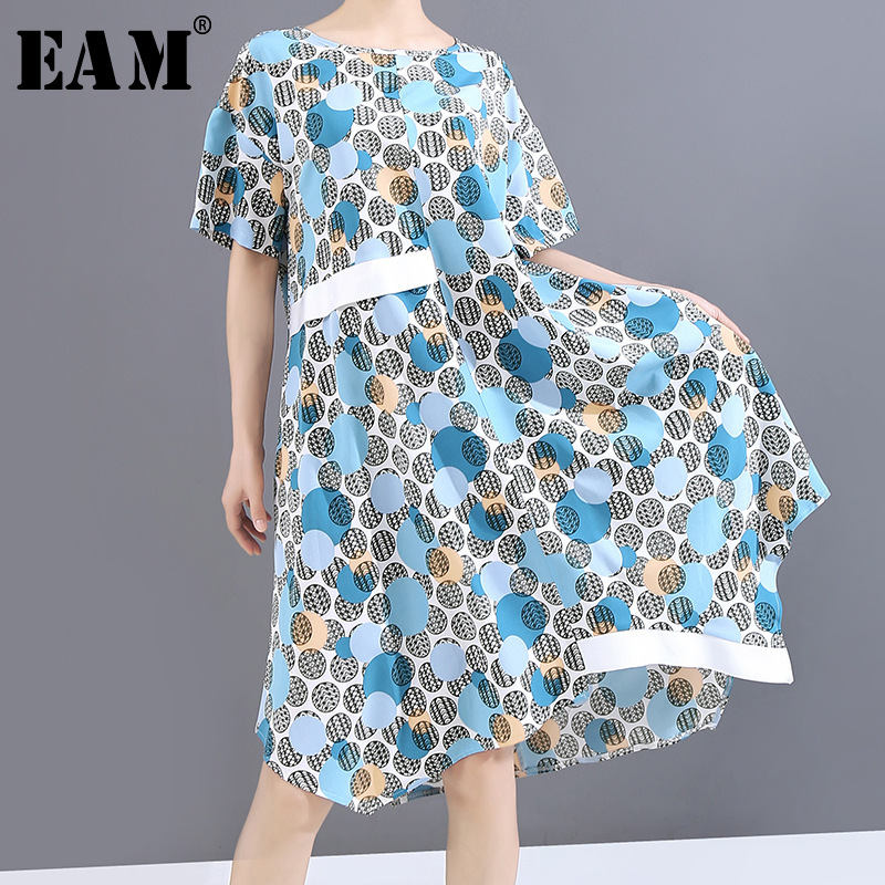 [EAM] Women Blue Pattern Printed Big Size Dress New Round Neck Short Sleeve Loose Fit Fashion Tide Spring Summer 2020 1W927