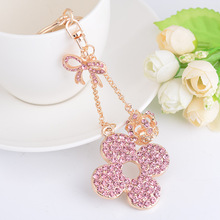 New Creative Crystal Clover Keychain Cute Beautiful Bow Keyring Crown Car Fashion Lady Bag Pendant Gift