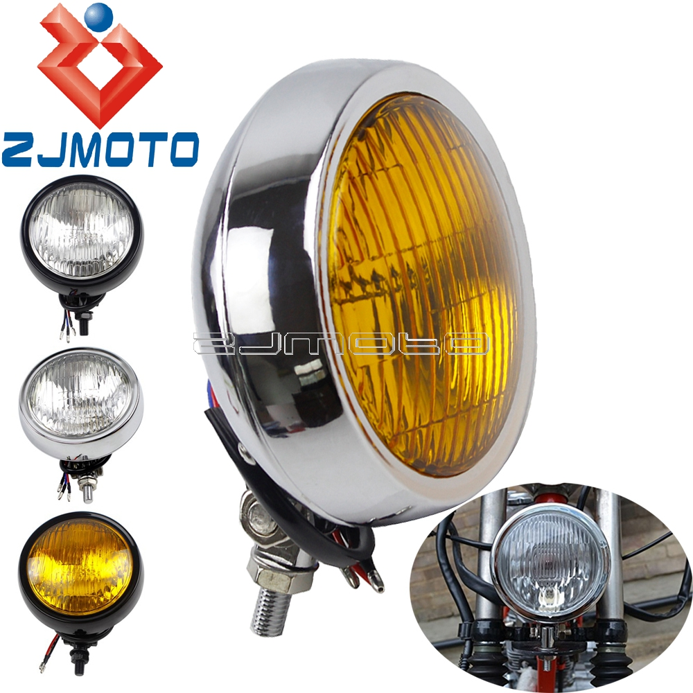 "Bronze Matte Black Amber 5.75/"" Motorcycle Bottom Mount Headlight w// Grill"