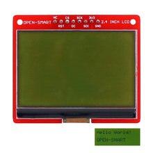 Open-smart 3.3v 2.4 polegadas 128*64 série spi monocromático módulo de placa de fuga lcd sem luz de fundo para arduino uno nano