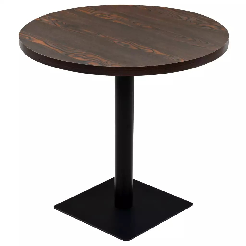 VidaXL Bistro Table MDF And Round Steel 80 X 75cm Dark Ash 245610
