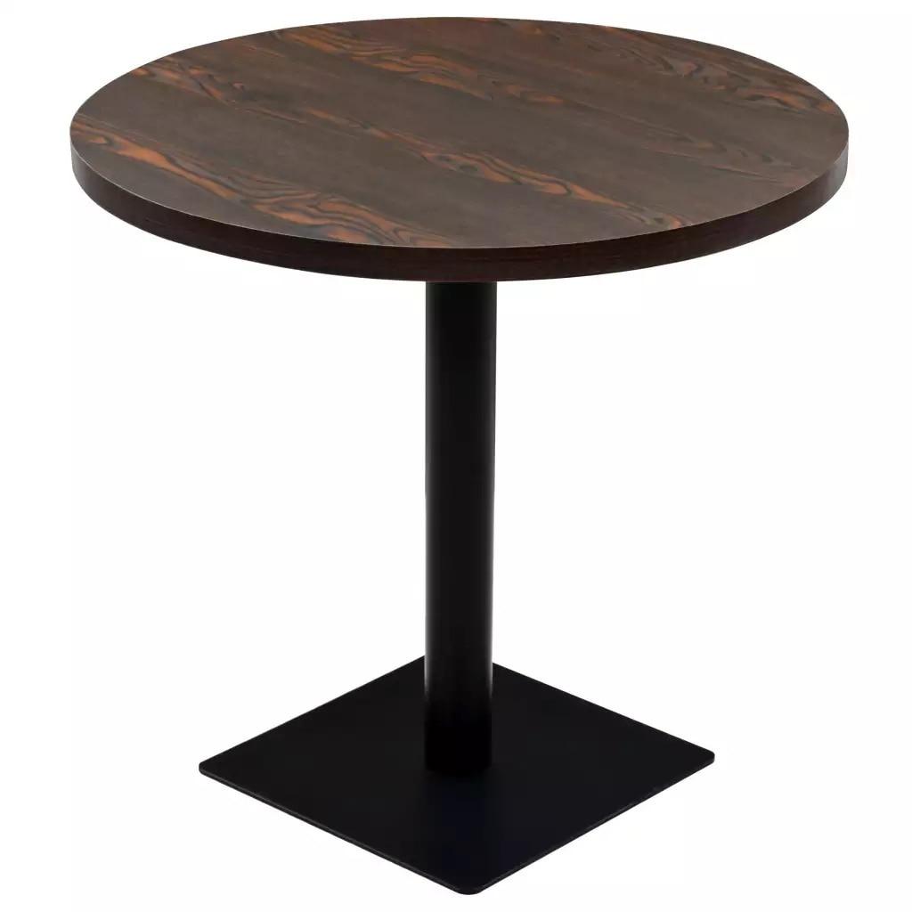 VidaXL Bistro Table MDF And Round Steel 80 X 75cm Dark Ash 245610