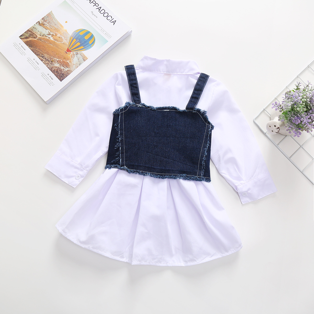 Girls Solid Color Fold-down Collar Long-Sleeve Shirt Dress L3.31 1