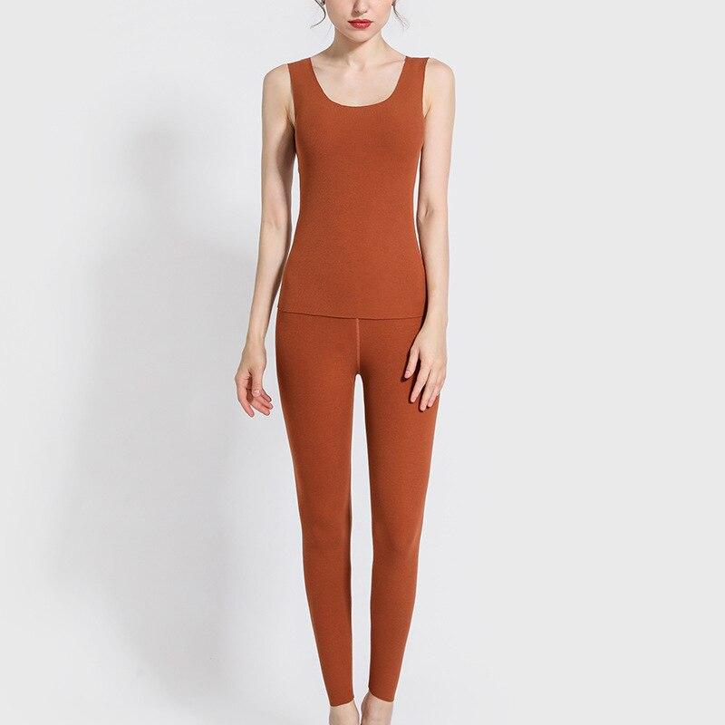 2019 Winter New Ram Thread Heating Vest +pants 2 Pieces Set Women Seamless Thermal Underwear Set Slim Fit Warm Long Johns Suits
