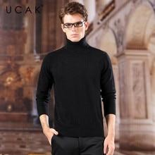 UCAK Brand Turtleneck Pure Merino Wool Sweaters Men 2020 Striped New Fashion Trend Spring Streetwear Pull Homme Pulliover U3173