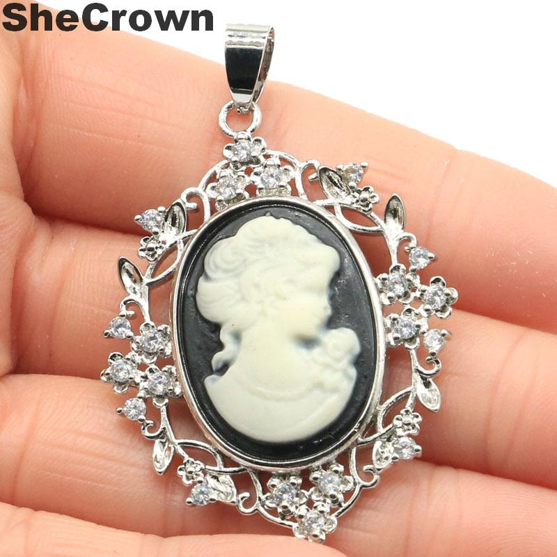 52x33mm Gorgeous Created Long Cameo Onyx Lady White Sapphire Woman's Present Silver Pendant