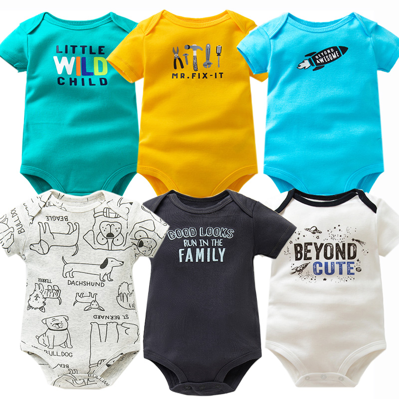 6 PCS/LOT Newborn Baby Clothing 2020 New Fashion Baby Boys Girls Clothes 100% Cotton Baby Bodysuit Short Sleeve Infant Jumpsuit