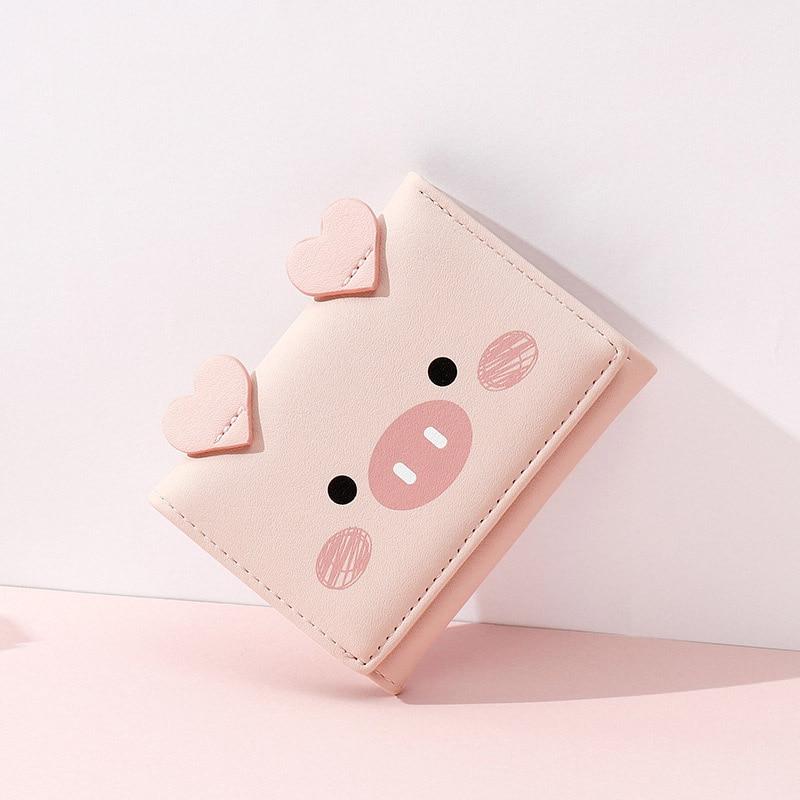 2020 New Cute Cartoon Pig Designer Wallet PU Leather Women Purse Ladies Trifold Wallets Female Small Money Purses