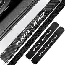Für Ford Explorer 4PCS Auto Tür Schwellen verschleiss Platte Abdeckung Aufkleber Carbon Faser Auto Scratch Protector Aufkleber Auto Tuning zubehör
