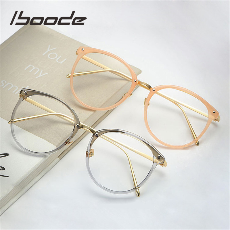 Iboode Retro Round Myopia Optical Eyeglasses Frame Women Men Transparent Clear Lens Spectacle Glasses Frames For Male Female
