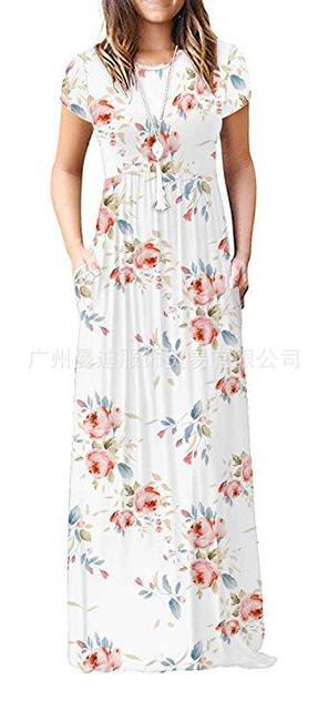 Robe dété à manches courtes   Col rond, tissu imprimé, manches courtes, poches drapées, grande taille, pull-over, printemps 2020