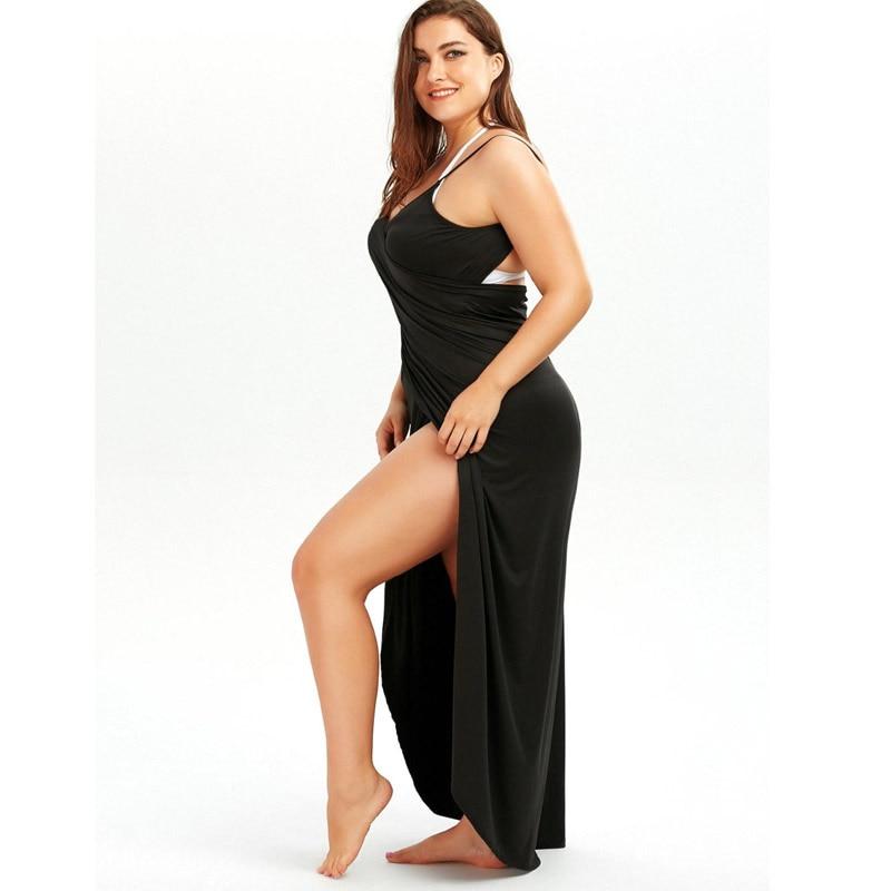 Black Wrap Sarong Beach Dress 2019 Holiday Beachwear Women Summer Dress Beach Sexy Robe Casual Backless Plus Size Vestidos 5XL