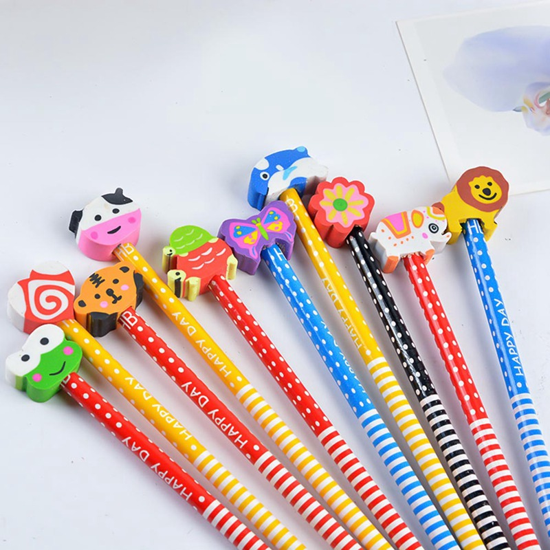 10 Pieces Cute Creative HB Pencil With An Eraser Primary School Children Pencil School Supplies