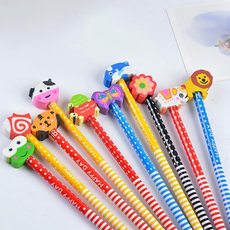 10 Pieces Cute Creative HB Pencil With An Eraser Primary School Children Pencil School Supplies