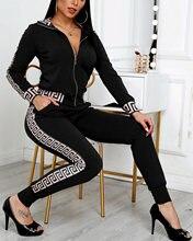 2021 Women Elegant Fashion dwuczęściowe zestawy garniturów damskie stylowe Plus Size Greek Fret z powłoką drukowaną i spodniami