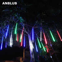 ANBLUB 20cm 30cm 50cm Outdoor Meteor Shower Rain 8 Tubes LED String Lights Waterproof For Christmas Wedding Party Decoration