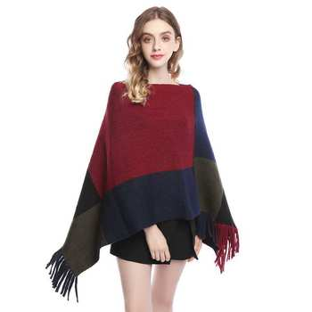 Elegant Plaid Poncho Sweater Women Blanket Tassel Cape Coat Fringe Shawl Scarf Spring Autumn Ladies Batwing Wrap Warm Pullovers 2020 new fashion beading scarf women fashion hollow out hijab scarf spring summer elegant ladies shawl poncho foulard