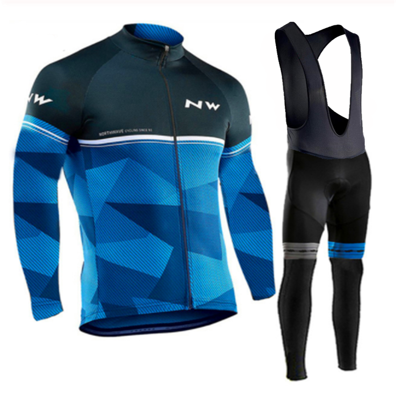 <font><b>2019</b></font> <font><b>Northwave</b></font> Long Sleeve Cycling Clothing Set <font><b>NW</b></font> Pro team Jersey men suit Breathable outdoor sportful bike MTB clothing paded image