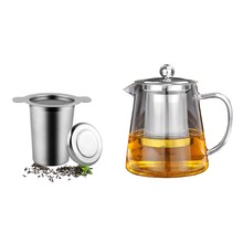 Hot Sale 1Pcs Layer Mesh Tea Infuser, Reusable Coffee Filter Fits Standard Cups Mugs Teapots & 1 Set Clear Glass Teapot with 304(China)