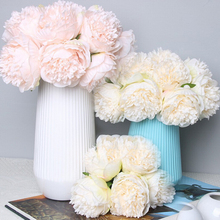 5 Heads Peony Artificial Flower Christmas Home Decoration Silk Real Touch Fake Wedding Party New Year Gift Floral