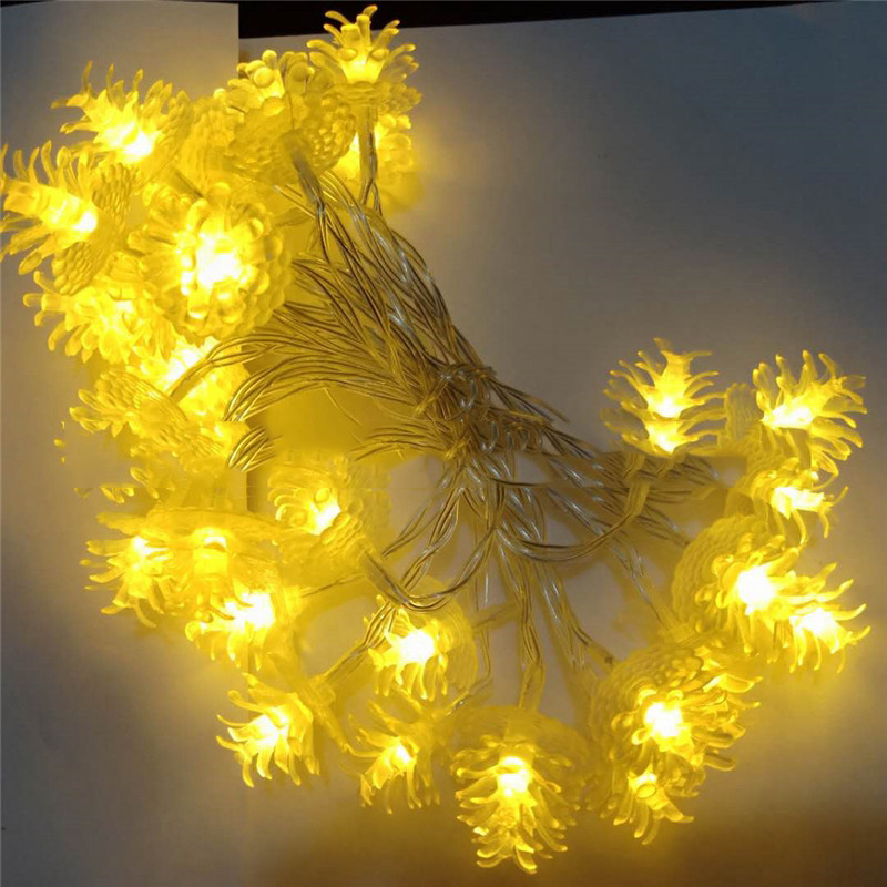 20mBattery Powered Pine Cone Leds String Lights Christmas Tree Holiday Decoration String Light Wedding Lamp Christmas Tree Light