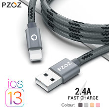 PZOZ Usb Kabel Für iphone kabel 11 pro max Xs Xr X SE 2 8 7 6 plus 6s 5s ipad air mini 4 schnelle lade kabel für Iphone ladegerät(China)