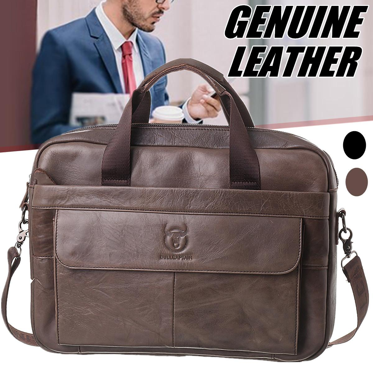 Bags Laptop Crossbody-Bags Leather Briefcase Messenger Business Genuine-Leather Men's