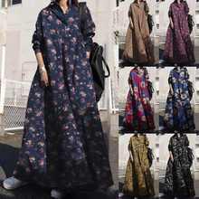 Feminino floral camisa vestido 2021 zanzea retro primavera vestido de verão manga longa impressão maxi vestidos femininos casual lapela robe plus size 7
