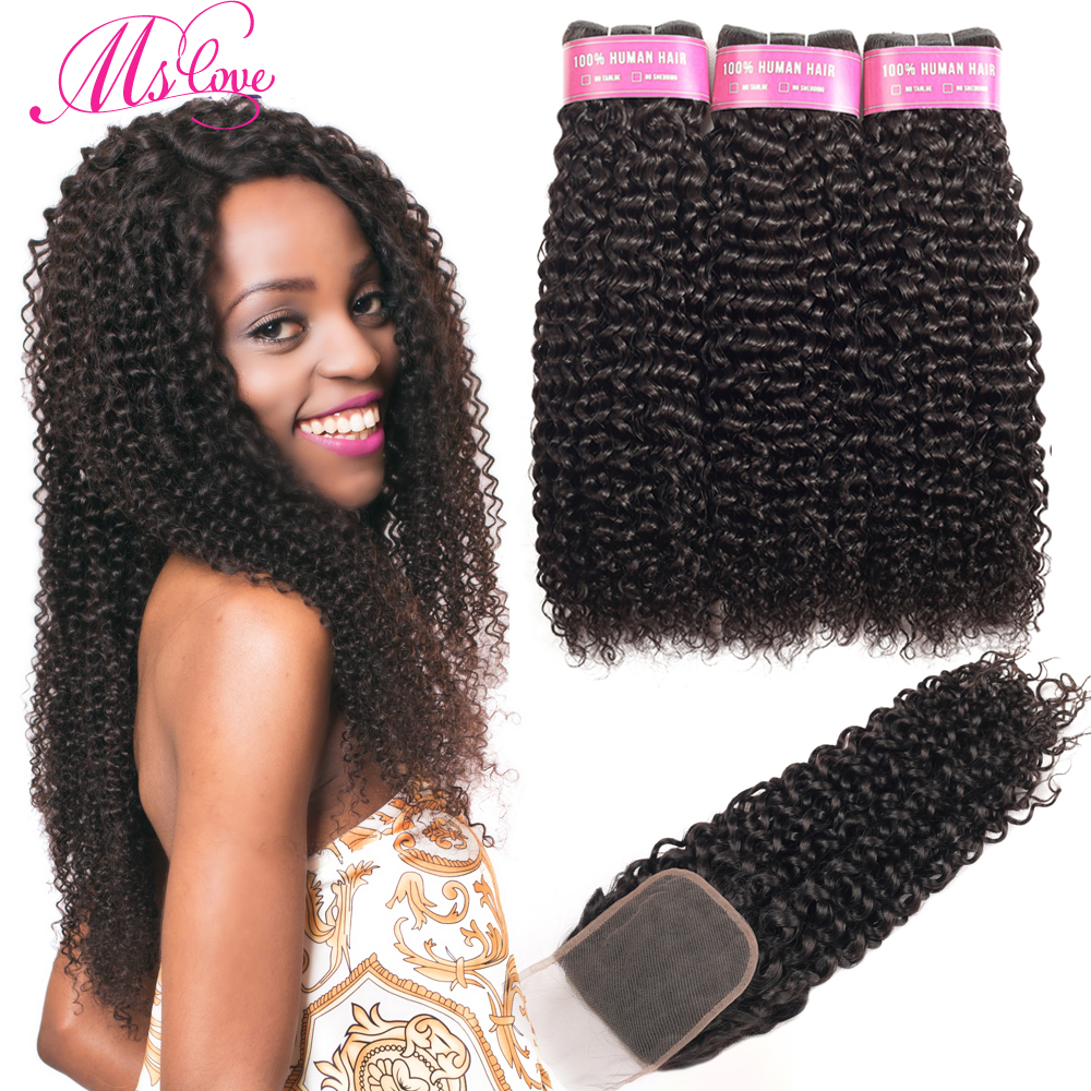 Kinky Curly Bundles With Closure Brazilian Hair Weave Bundles 3 Curly Human Hair Bundles With Closure Non Remy Ms Love Hair