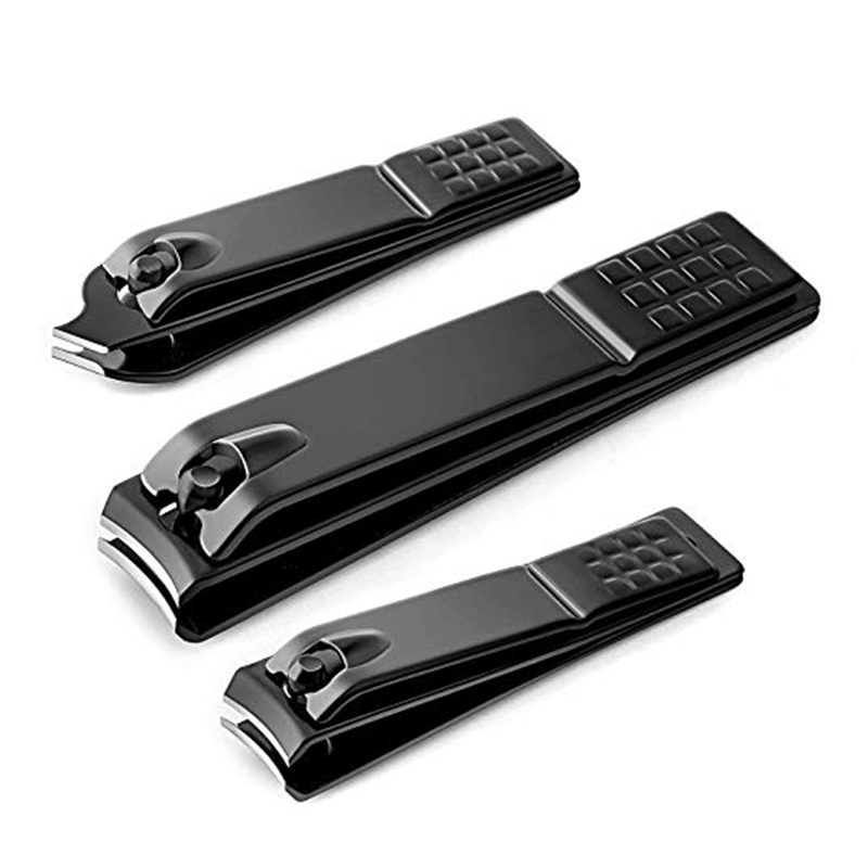 3Pcs/Set Nail Clippers Set Black Stainless Steel Slant Edge Toe Nail Clipper Cutter Nail Clippers Kit Accessories Foot Care Tool