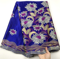 High Quality African George Lace Fabric With Stones Royal blue Color Laces For Indian Women Wedding Dress Sewing Nigerian George