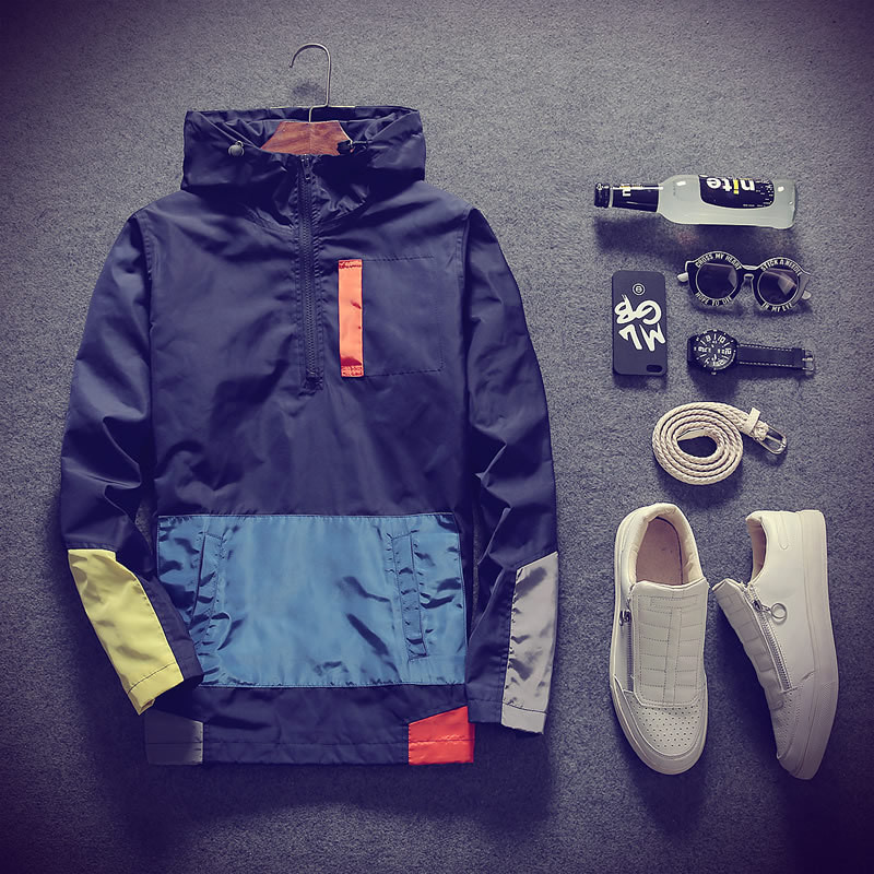 Casual Hooded Fashion Men's Top Jackets Stitching Color Coats Men Outerwear Casual Brand Male Clothing Plus 5XL