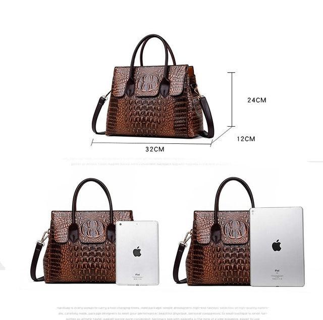Bolsa feminina de couro genuíno bolsas de crocodilo bolsas de luxo bolsas femininas designer crossbody sacos feminino retro tote bolsas 2