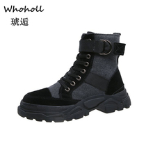 Whoholl Black Patent Leather Ankle Boots For Women Lace Up Platform Winter Warm Plush Street Style Shoes