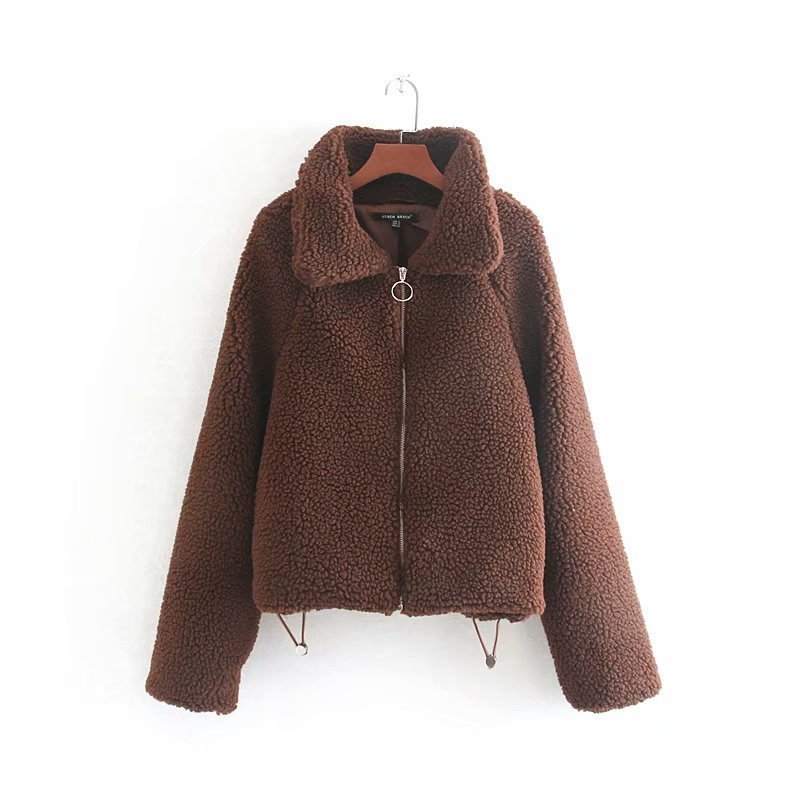 Windbreaker Short Lambswool Jacket Zipper Autumn Winter Fashion Casual Long Sleeve Female Coats Outwear Ladies Clothes