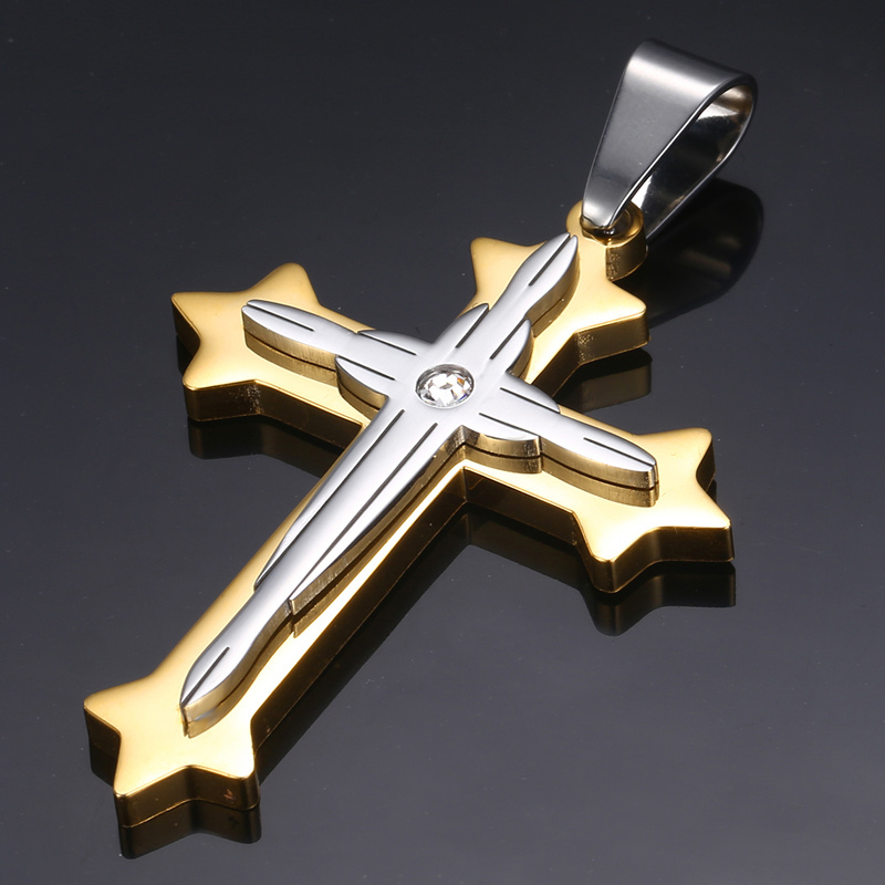 Dropshipping Cross Pendant Necklace For Men Black Gold Silver color Stainless Steel Pendant Necklace Men Hip Hop Jewelry KP52