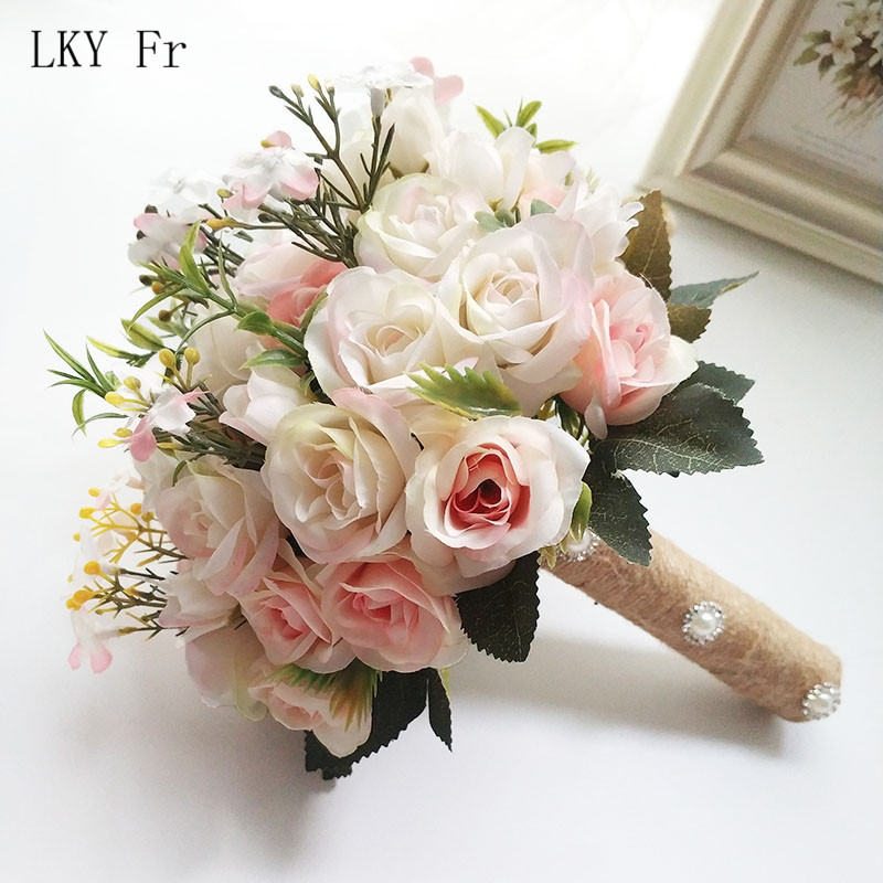 Wedding Bouquet Flowers Marriage-Accessories Roses Bridesmaids-Decoration Silk Small