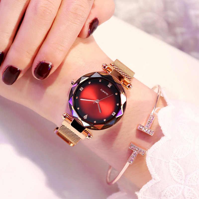 Lüks kadın saatler gül altın yıldızlı gökyüzü manyetik örgü Rhinestone kuvars kol saati bayan kadın elmas İzle relogio feminino