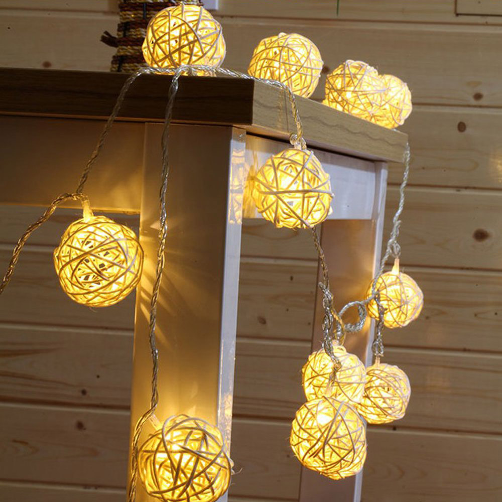 Battery Operated 1M 2M Xmas Garland LED Rattan Ball String Light Heart Shape Holiday Lights For Christmas Tree Wedding Party
