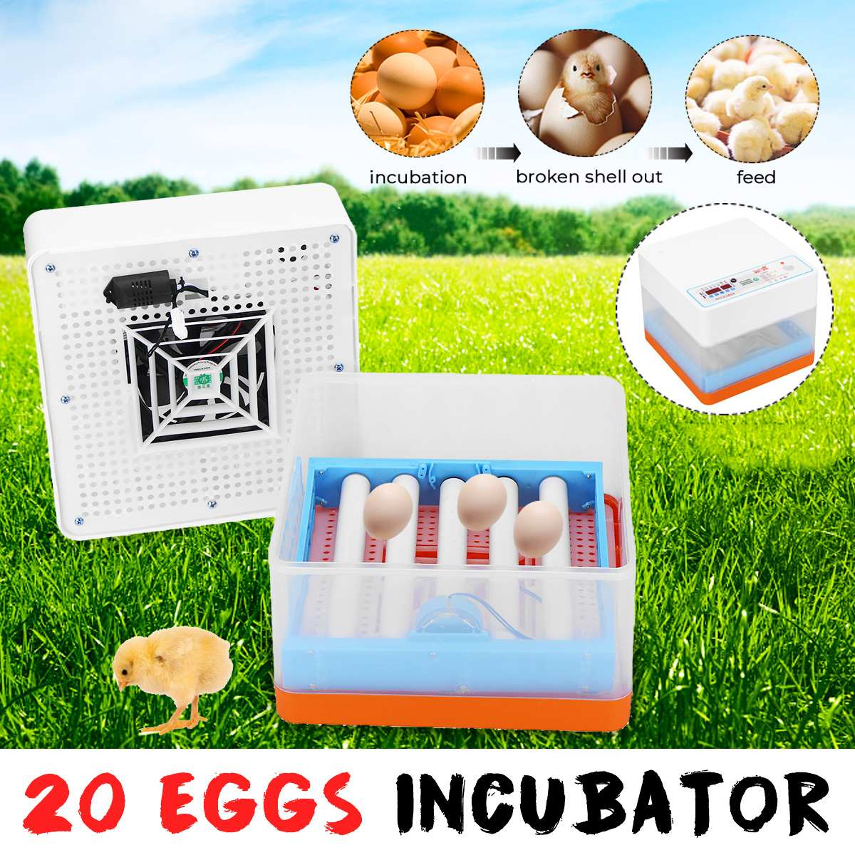 Intelligent Full-automatic Egg Incubator Hatcher 20 Eggs Electronic Hatching Machine For Chicken Duck Transparent EU Plug image