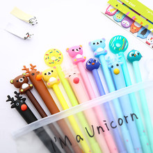 12Pcs/pack Korean Cute Kawaii Gel Pen Cartoon Unicorn Office Stationery Thing Rainbow Pink Panther School Art Supply Stationary(China)