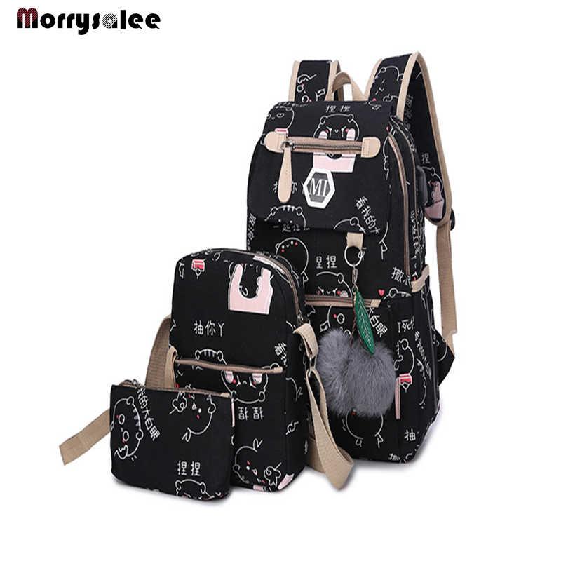 2019 USB Charging Canvas Backpack 3 Pcs/set Women School Backpacks Schoolbag For Teenagers Man Student Book Bag Boys Satchel