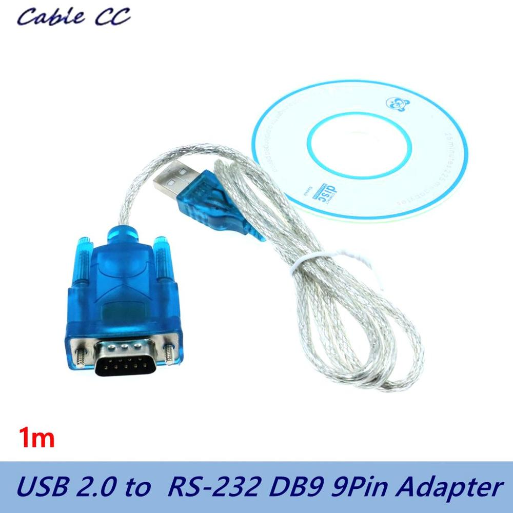 100cm High Quality USB 2.0 To Serial RS-232 DB9 9Pin Adapter Converter Cable FTDI Chipset  USB TO RS232 SUPPORT WIN10