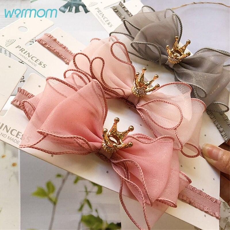 Warmom для маленьких девочек с принтом «Корона», повязка на голову с бантом, детское милое модное платье принцессы кружева головные аксессуары...