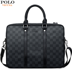 VICUNA POLO, Классическая клетчатая дизайнерская деловая мужская сумка, высококачественный мужской кожаный портфель, сумка-тоут, сумки через пл...