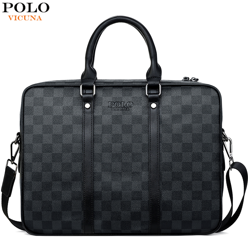 VICUNA POLO Classic Plaid Design Business Man Bag High Quality Mens Leather Briefcase Bag Tote Shoulder Bags Handbag New