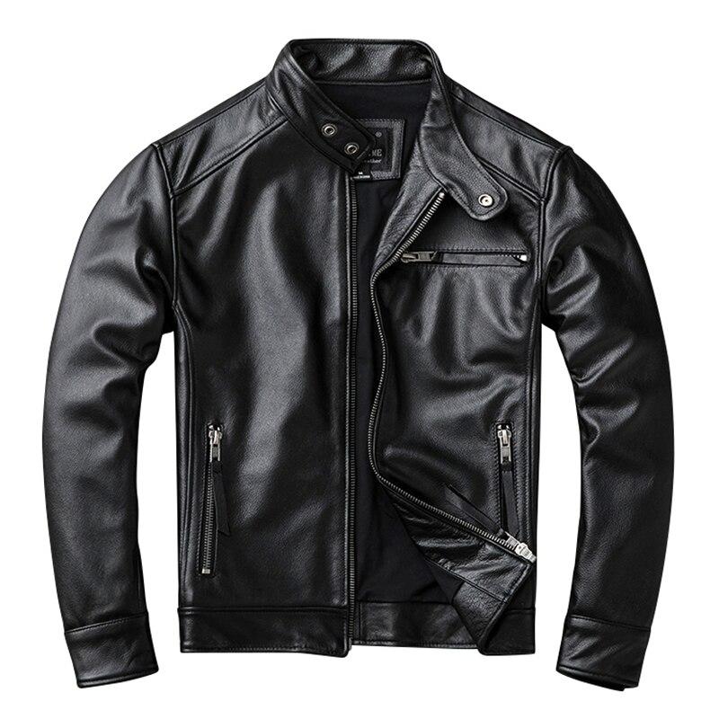 Veste en cuir véritable hommes noir moto court en cuir véritable vestes hommes en peau de mouton manteau grande taille 5XL jaqueta de couro L543
