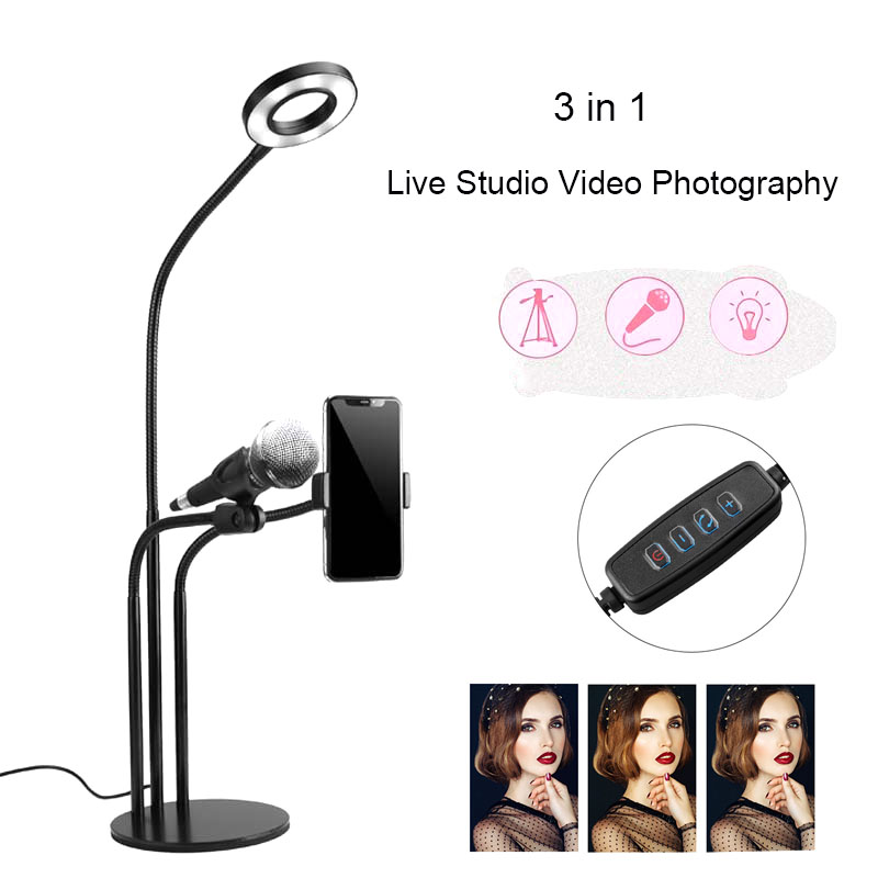 Selfie Ring Light Cell Phone Holder Microphone holder for Table Live Stream Makeup LED Ring Light With Long Arms smartphone clip